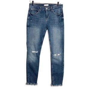 ZARA Frayed Hem Ankle Skinny Jeans Size 6